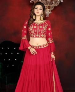 Embroidered Georgette Lehenga in Rani Pink