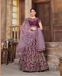 Sequins Silk Lehenga in Wine