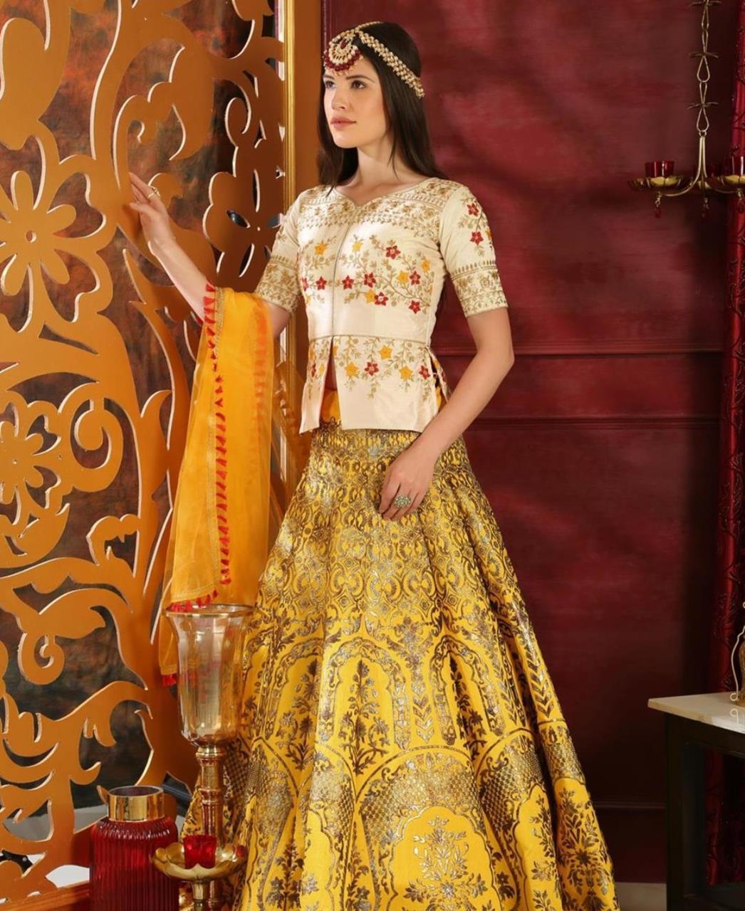 Embroidered Jacquard Yellow Circular Lehenga Choli Ghagra