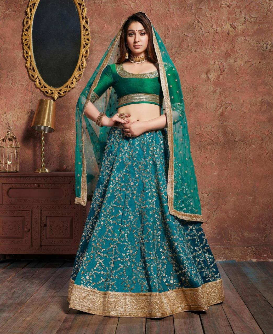 Embroidered Art Silk Green Circular Lehenga Choli