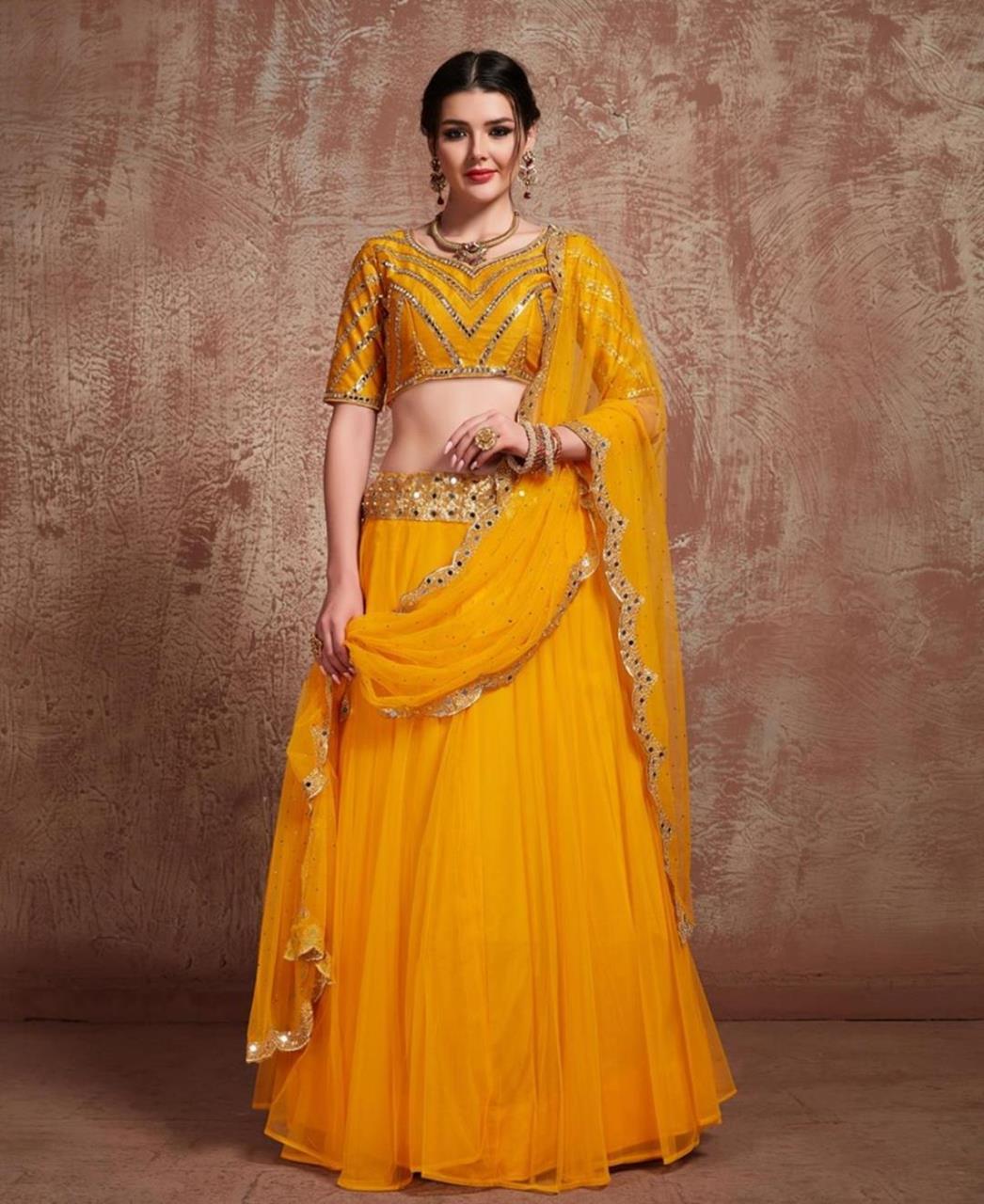 Sequins Art Silk Yellow Long choli Lehenga Choli