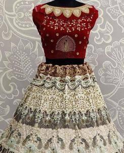 Thread Cotton Lehenga in Red