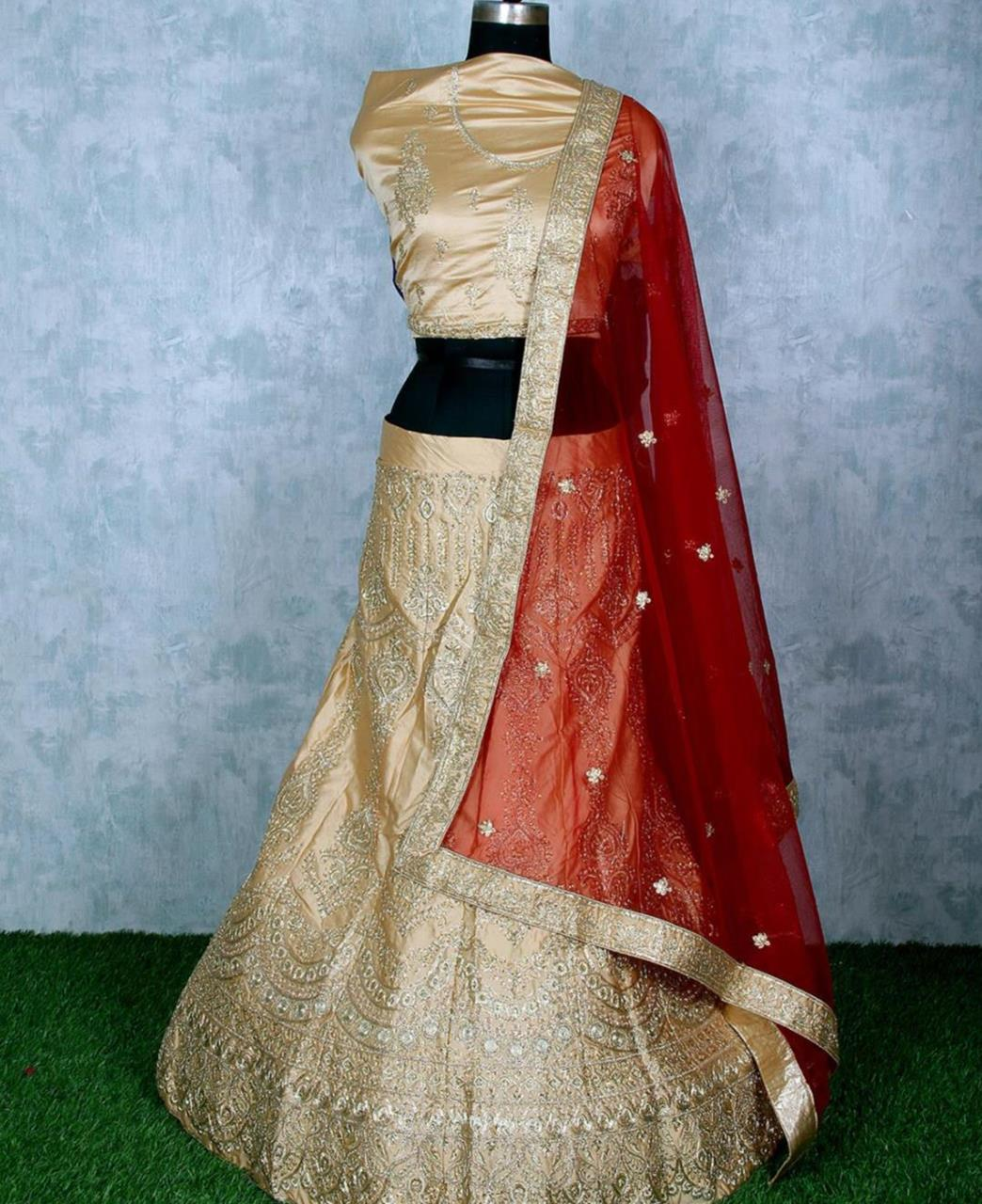 Stone Work Satin Lehenga in Cream