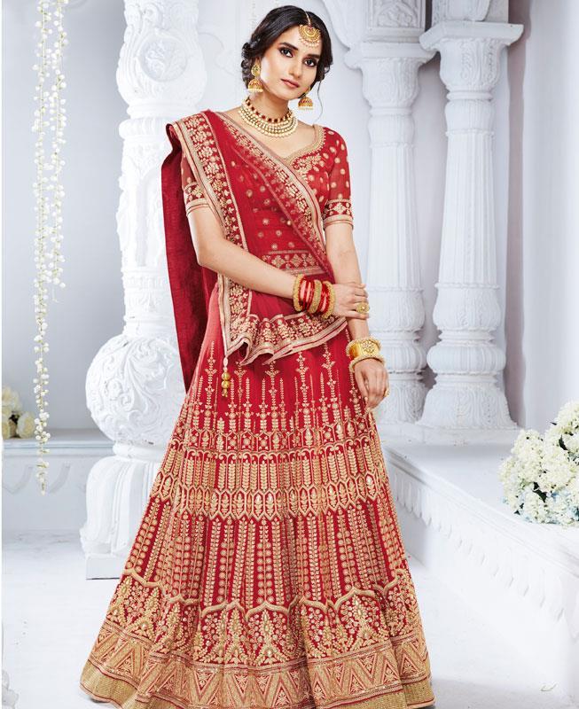 Jari Bhagalpuri Silk Pink Long choli Lehenga Choli Ghagra