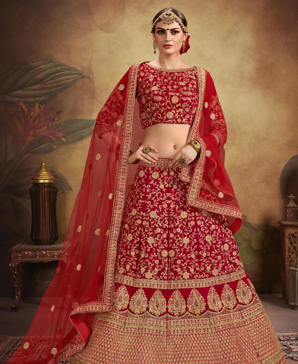 Embroidered Velvet Red Circular Lehenga Choli