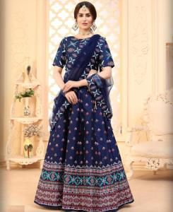 Printed Silk Lehenga in Navy Blue