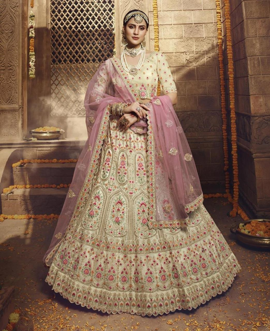 Thread Net Lehenga in Cream