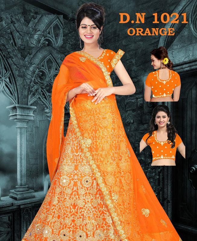 Embroidered Net Orange A Line Lehenga Choli Ghagra