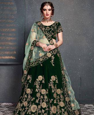 Zari Velvet Green Circular Lehenga Choli