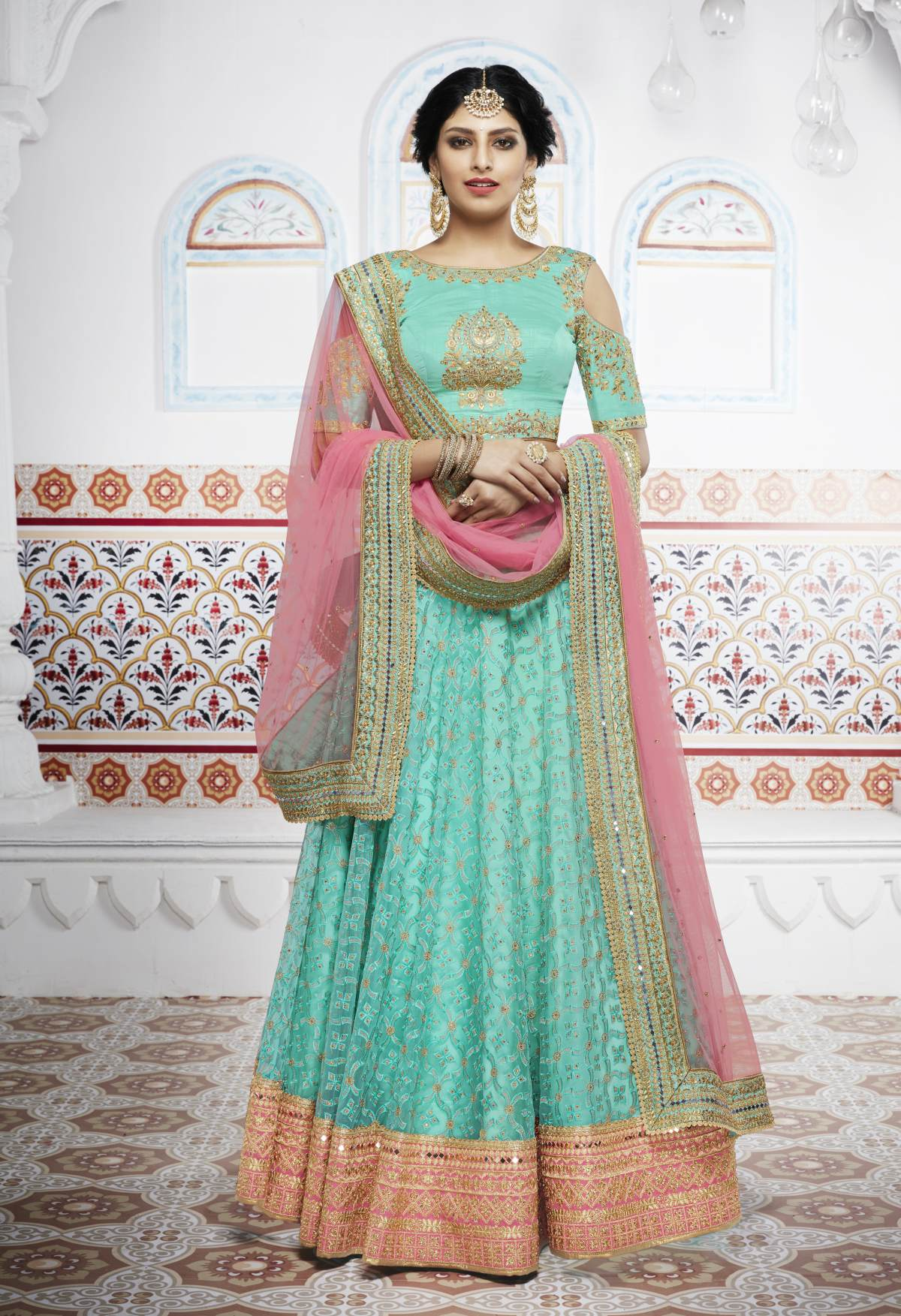 b4a2ba2180 Embroidered Net Turquoise Long choli Lehenga Choli Ghagra