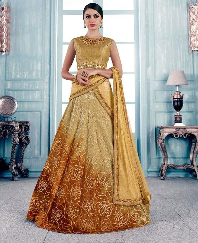Printed Velvet Gold Circular Lehenga Choli Ghagra