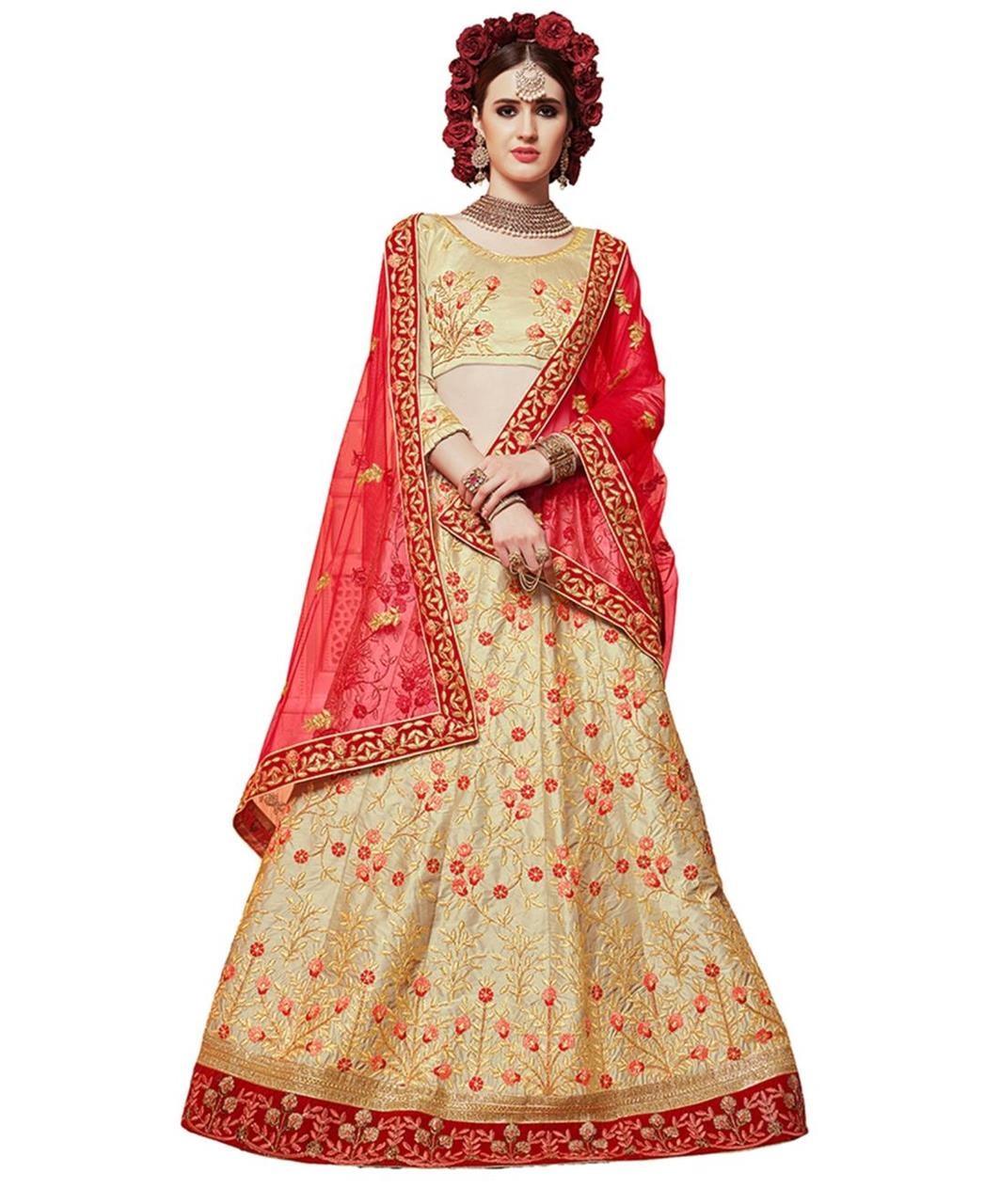 Embroidered Silk Beige Circular Lehenga Choli Ghagra