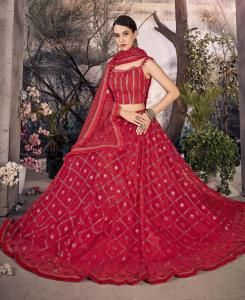 Lace Net Lehenga in Red