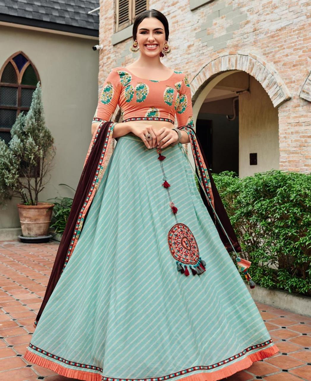 Lace Cotton Lehenga in Orange