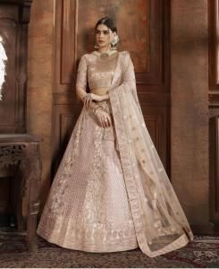 Embroidered Net Pink Circular Lehenga Choli