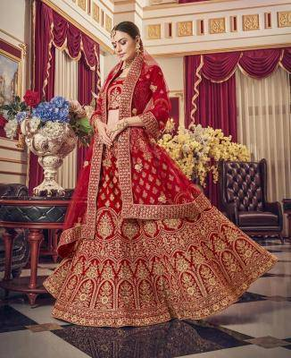 Embroidered Velvet Red Circular Lehenga Choli