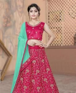 Embroidered Silk Lehenga in Red