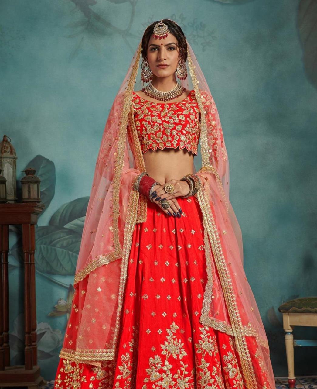 Sequins Silk Lehenga in Red