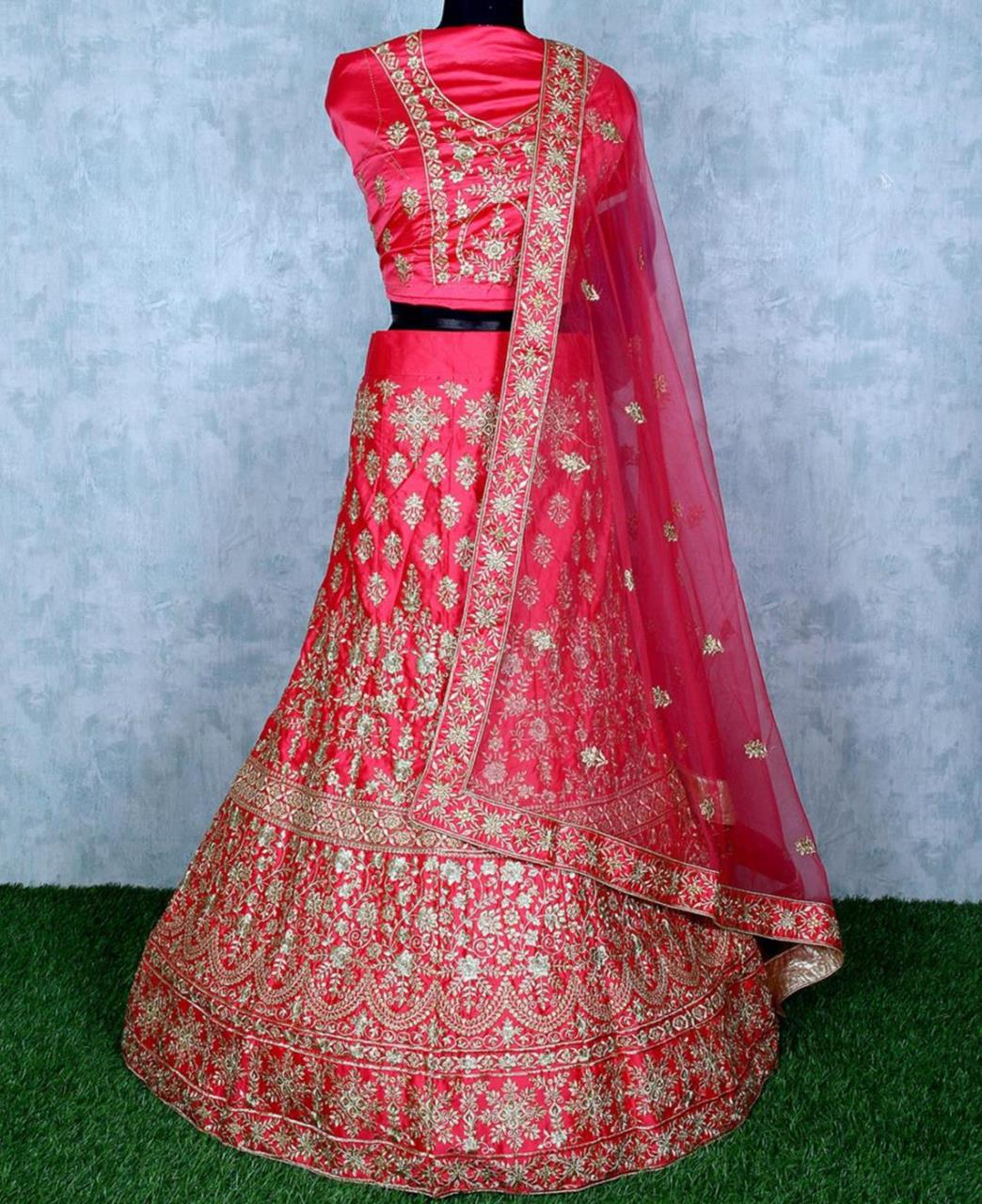 Stone Work Satin Lehenga in Pink