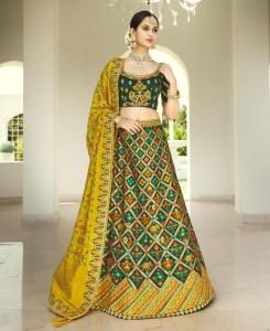 Stone Work Silk Lehenga in Green