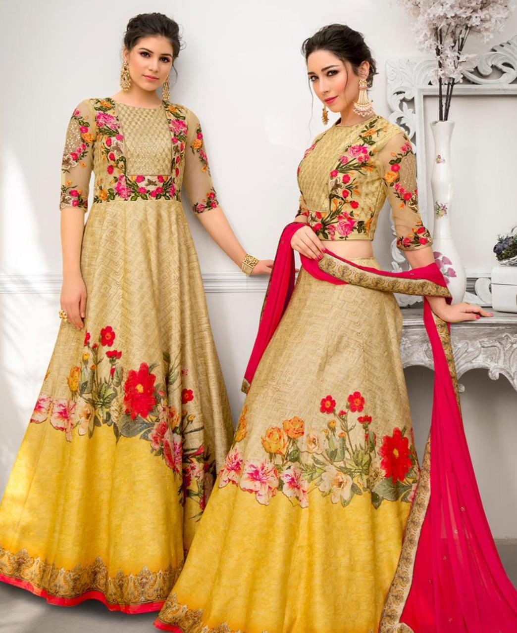 513ecc8d1c Printed Banarasi Silk Yellow Long choli Lehenga Choli Ghagra