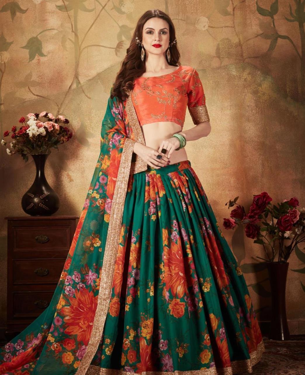 Printed Silk Lehenga in Orange