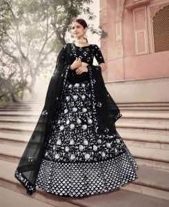 Sequins Net Lehenga in Black