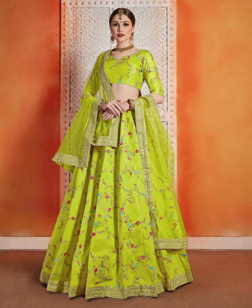 Embroidered Art Silk LimeGreen Circular Lehenga Choli