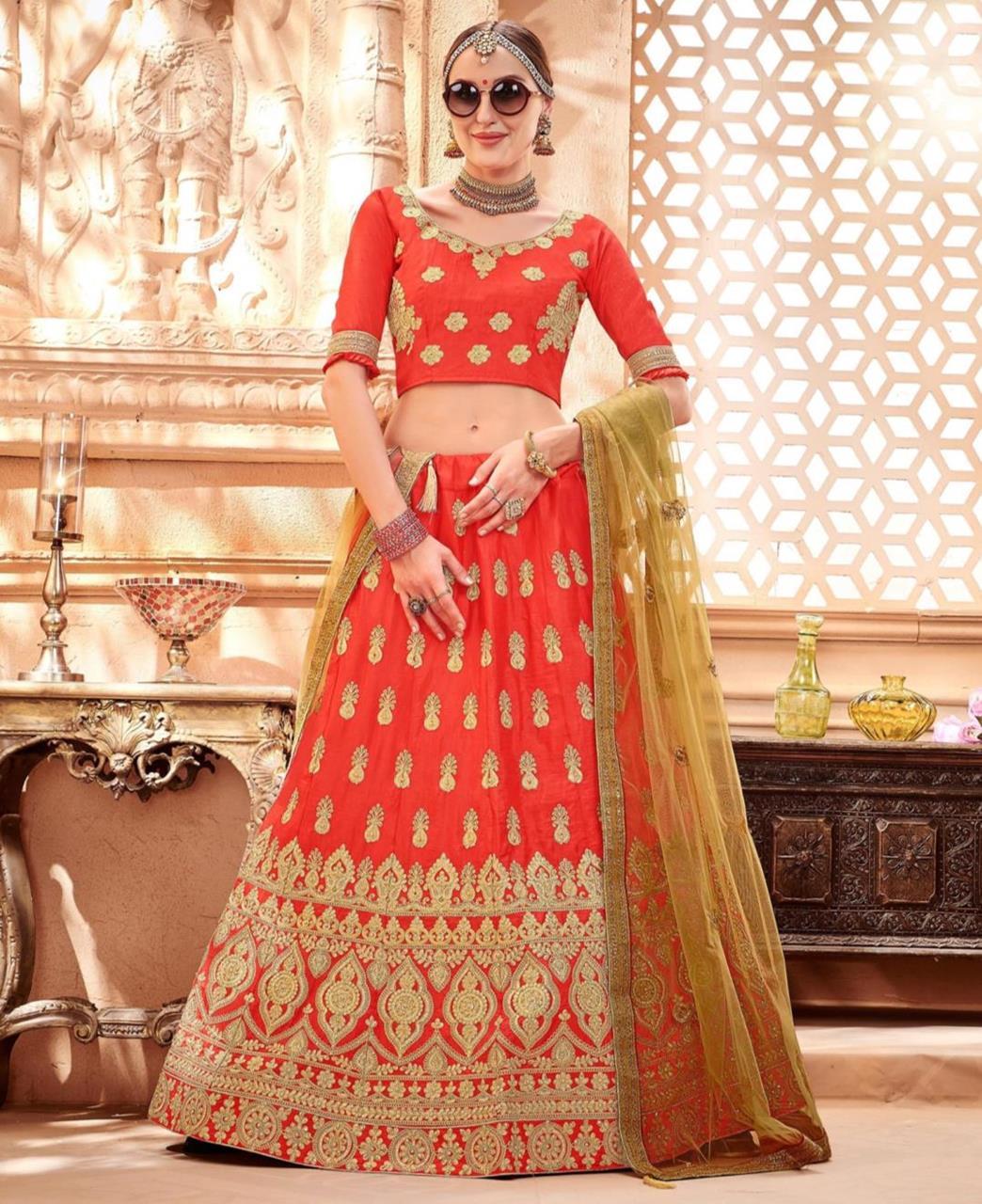 Butta Work Silk Red Circular Lehenga Choli