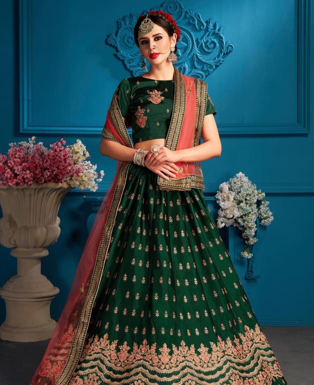 Embroidered Satin Green Circular Lehenga Choli Ghagra