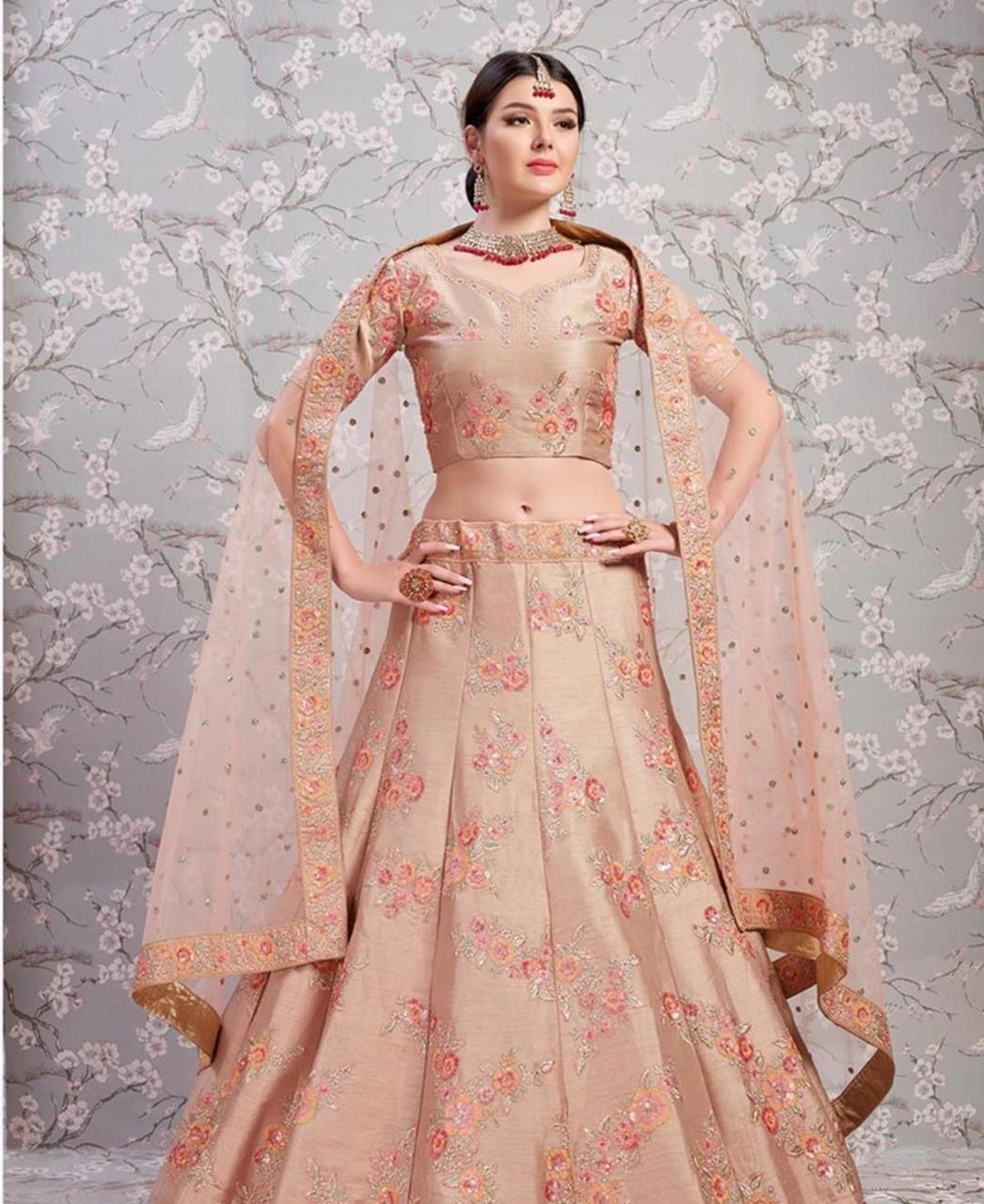 Sequins Bangalore Silk Beige Circular Lehenga Choli