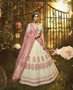 Stone Work Net Lehenga in White