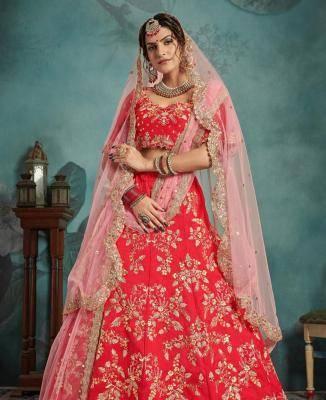 Sequins Art Silk Red Circular Lehenga Choli