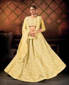 Embroidered Net Lehenga in Yellow