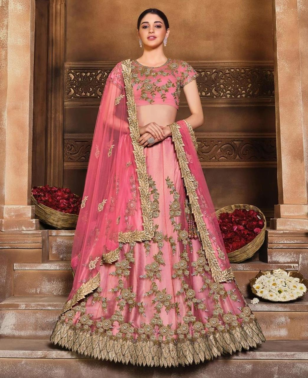 Embroidered Satin Lehenga in Tomato Red