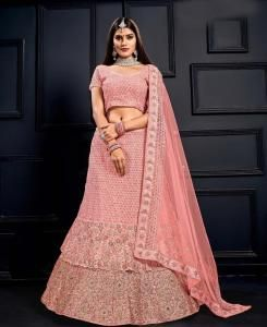 Stone Work Net Lehenga in Light Pink