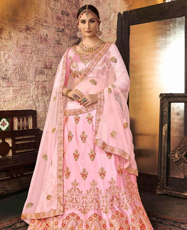 Zari Satin Lehenga in Light Pink