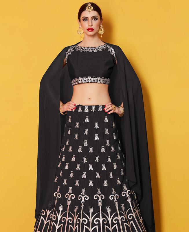 Embroidered Art Silk Black Circular Lehenga Choli