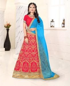 Zari Satin Lehenga in Dark Pink