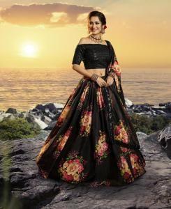 Sequins Silk Lehenga in Black