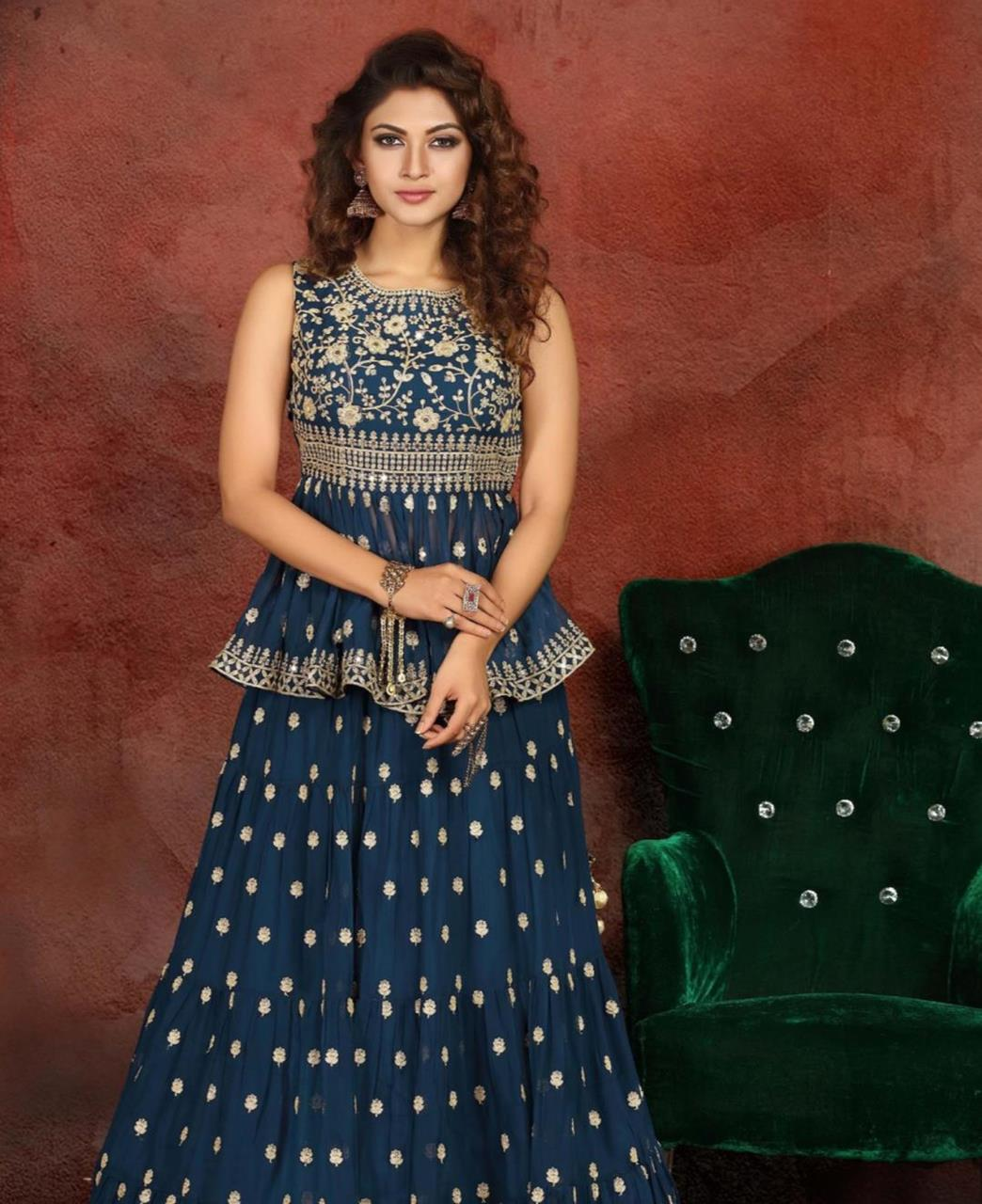 Embroidered Georgette Lehenga in Blue