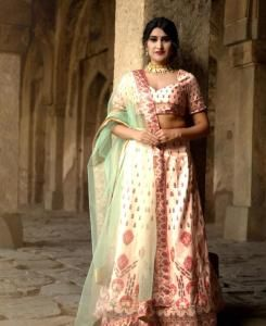 Printed Satin Lehenga in Peach