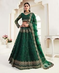 Thread Satin Lehenga in Green