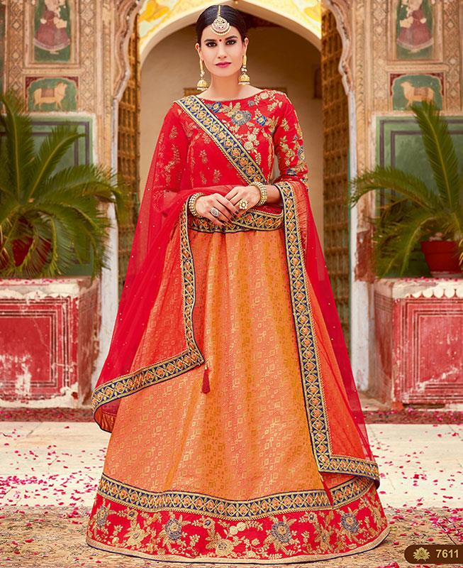 Printed Jacquard Red Long choli Lehenga Choli Ghagra