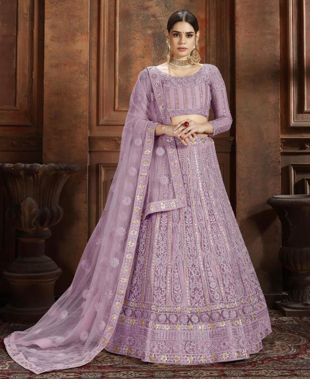 Embroidered Net Lavender Circular Lehenga Choli