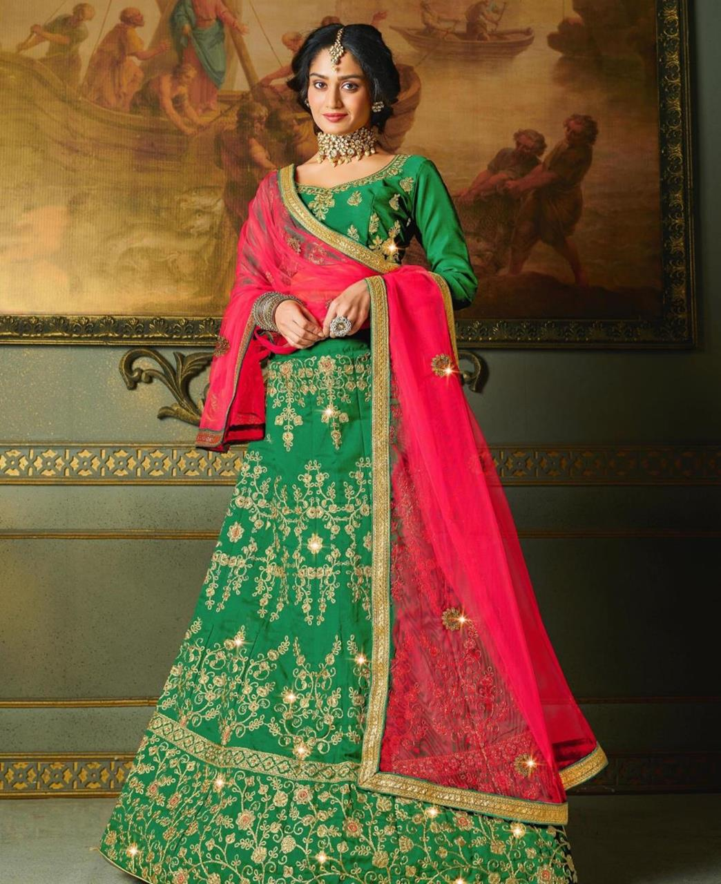 Embroidered Satin Lehenga in Green