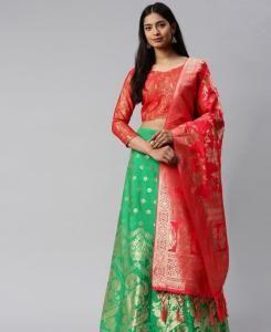 Silk Lehenga in Red