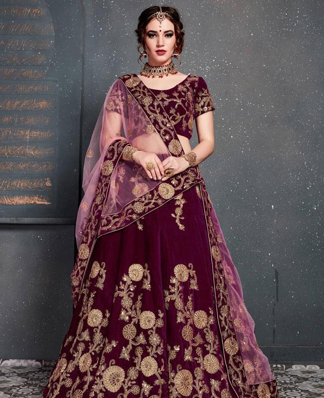 Zari Velvet Purple Circular Lehenga Choli