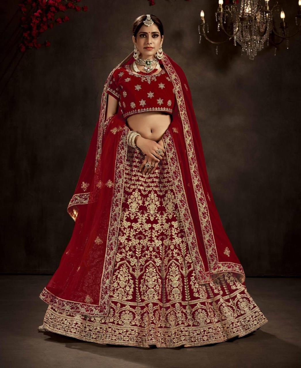 HandWorked Velvet Lehenga in Maroon