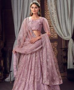 Thread Cotton Lehenga in Light Purple
